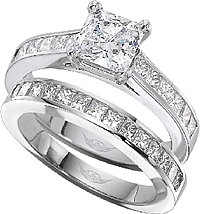 FlyerFit Princess Cut Channel-Set Diamond Engagement Ring