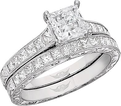 FlyerFit Princess Cut Channel Set Vintage Engagement Ring w Hand