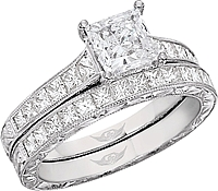 FlyerFit Princess Cut Channel Set Vintage Engagement Ring w/ Hand Engraved Scrolling
