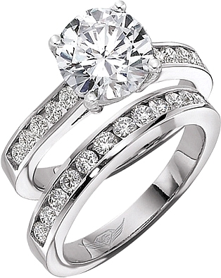 flyerfit round brilliant channel set diamond engagement ring 5198ser - Wedding Ring Diamond