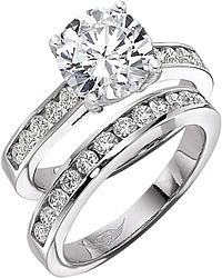 FlyerFit Round Brilliant Channel-Set Diamond Engagement Ring