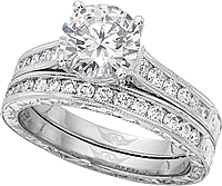 FlyerFit Round Brilliant Channel Set Vintage Engagement Ring w/ Hand Engraved Scrolling