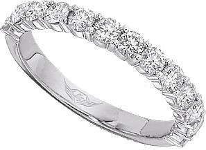 FlyerFit Shared Prong Round Brilliant Diamond Wedding Band 5139SWB
