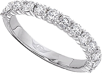 FlyerFit Shared Prong Round Brilliant Diamond Wedding Band