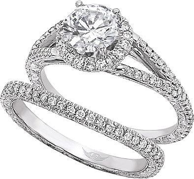 FlyerFit Split Shank MicroPave Diamond Engagement Ring VM01AENG