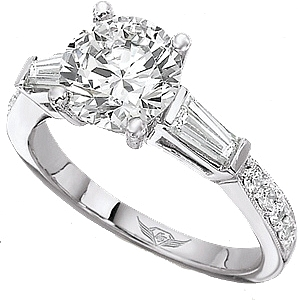 Flyerfit Tapered Baguette Amp Pave Diamond Engagement Ring