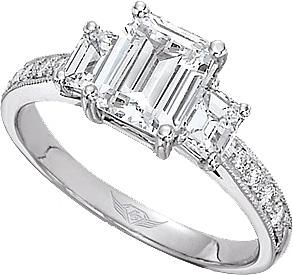 This image shows the setting with a 1.25ct emerald cut center diamond. The  setting