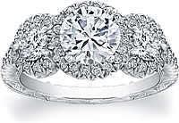 FlyerFit Three Stone Pave-Set Diamond Setting w/ Halo
