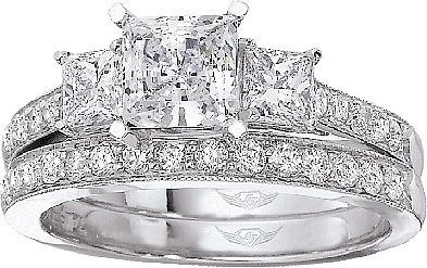 this image shows the setting with a 100ct princess cut center diamond the setting - Wedding Ring Princess Cut