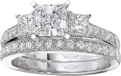 this image shows the setting with a 100ct princess cut center diamond the setting - 3 Stone Wedding Rings