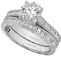 FlyerFit Vintage Asscher Cut Channel Set Diamond Engagement Ring