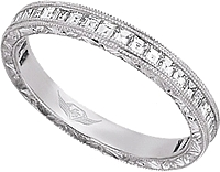 FlyerFit Vintage Channel-Set Asscher Cut Diamond Band