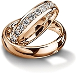 Shown here in 18K rose gold with and without diamonds; Each sold separately.