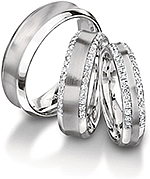 Shown here in 7.0mm, 6.00mm with diamonds, and 4.5mm wide with diamonds; Each sold separately.