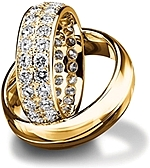 Shown here in 18K yellow gold with and without diamonds; Each sold separately.