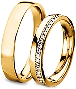 Shown here in 18k yellow gold with diamonds in 3.5mm and without diamonds in 4.5mm. Each sold separately.