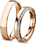 Shown here in 18k rose gold with diamonds in 3.5mm and without diamonds in 4.5mm. Each sold separately.