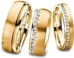 Shown here 18k yellow gold without diamonds in 6.5mm with diamonds in 6.5mm and with diamonds in 4.00mm. Each sold separately.