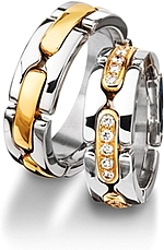 Shown here in 18k white and yellow gold with and without diamonds. Each sold separately.