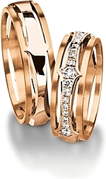 Shown here in 18k rose gold with and without diamonds. Each sold separately.