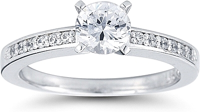 This image shows the setting with a 1.00ct round brilliant cut center diamond. The setting can be ordered to accomodate any shape/size diamond listed in the setting details section below.