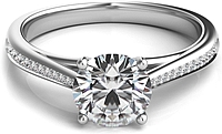 Graduated Pave-Set Diamond Engagement Ring