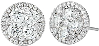 Gregg Ruth 18k White Gold Diamond Cluster Earrings-1.51cts