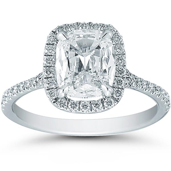 Henri Daussi 1 58ct Cushion Cut Diamond Ring with Halo and Pave Diamond Setti