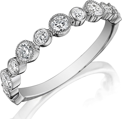 Henri Daussi Bezel Set Diamond Wedding Band R28 1
