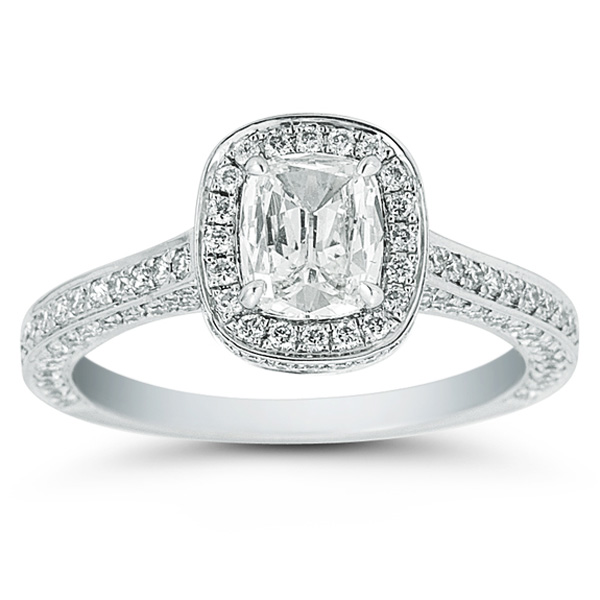 Henri Daussi Cushion Cut Diamond Ring with Halo and Pave Diamond Setting 1 3