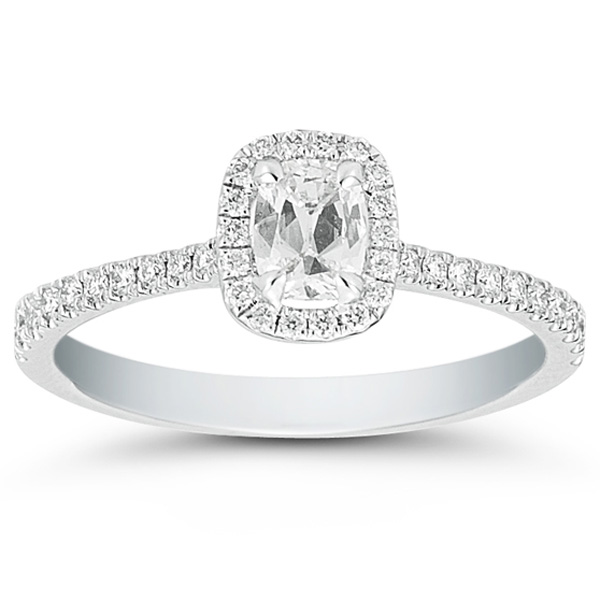 Henri Daussi Cushion Cut Diamond Ring with Halo and Pave Diamond Setting 57c