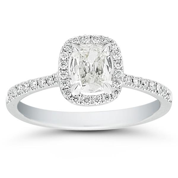 Henri Daussi Cushion Cut Diamond Ring with Halo and Pave Diamond Setting 79c