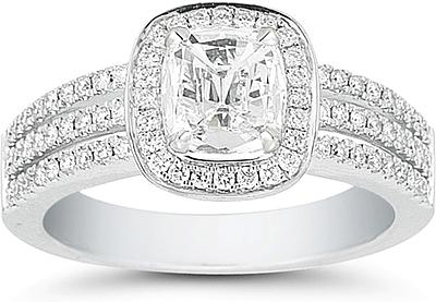 Henri Daussi Cushion Cut Triple Band Pave Diamond Ring 115ct tw