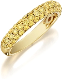Henri Daussi Domed 3-Row Fancy Yellow Diamond Pave Band