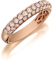 Henri Daussi Domed 3-Row Pink Diamond Pave Band