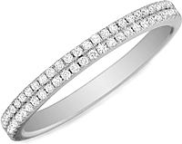 Henri Daussi Double Row Diamond Wedding Band