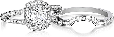 Shown with the matching engagement ring setting #AMSP; Sold separately.