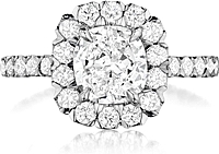 Henri Daussi French Pave Diamond Engagement Ring