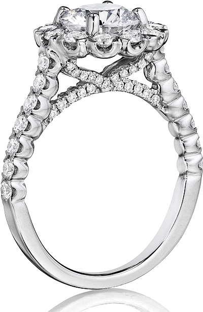 Henri Daussi French Pave Diamond Engagement Ring BJS