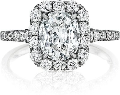 This image shows the setting with a .75ct cushion cut center diamond. The setting can be ordered to accommodate any shape/size diamond listed in the setting details section below.