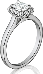 This image shows the setting with a 1.00ct cushion cut center diamond. The setting can be ordered to accommodate any shape/size diamond listed in the setting details section below.