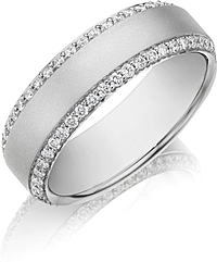 Henri Daussi Men's Diamond Wedding Band- 7mm