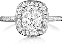 Henri Daussi Micro-Pave Diamond Engagement Ring