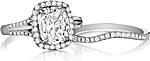This image shows the setting with a 1.75ct cushion cut center diamond. The setting can be ordered to accommodate any shape/size diamond listed in the setting details section below. Shown with the matching wedding band; Sold separately.