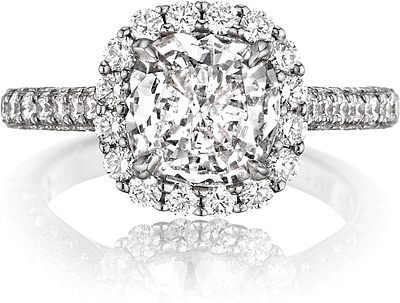 This image shows the setting with a 2.00ct cushion cut center diamond. The setting can be ordered to accommodate any shape/size diamond listed in the setting details section below.