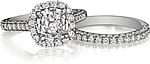 This image shows the setting with a 2.00ct cushion cut center diamond. The setting can be ordered to accommodate any shape/size diamond listed in the setting details section below. Shown with the matching wedding band; Sold separately.