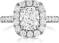 Henri Daussi Pave Diamond Halo Engagement Ring