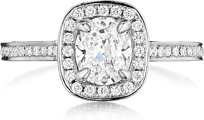 This image shows the setting with a .85ct cushion cut center diamond. The setting can be ordered to accommodate any shape/size diamond listed in the setting details section below.