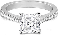 Henri Daussi Princess Cut Sidestone Setting Diamond Engagement Ring
