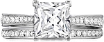 This image shows the setting with a 1.25ct princess cut center diamond. The setting can be ordered to accommodate any shape/size diamond listed in the setting details section below. Shown with the matching wedding band; Sold separately.